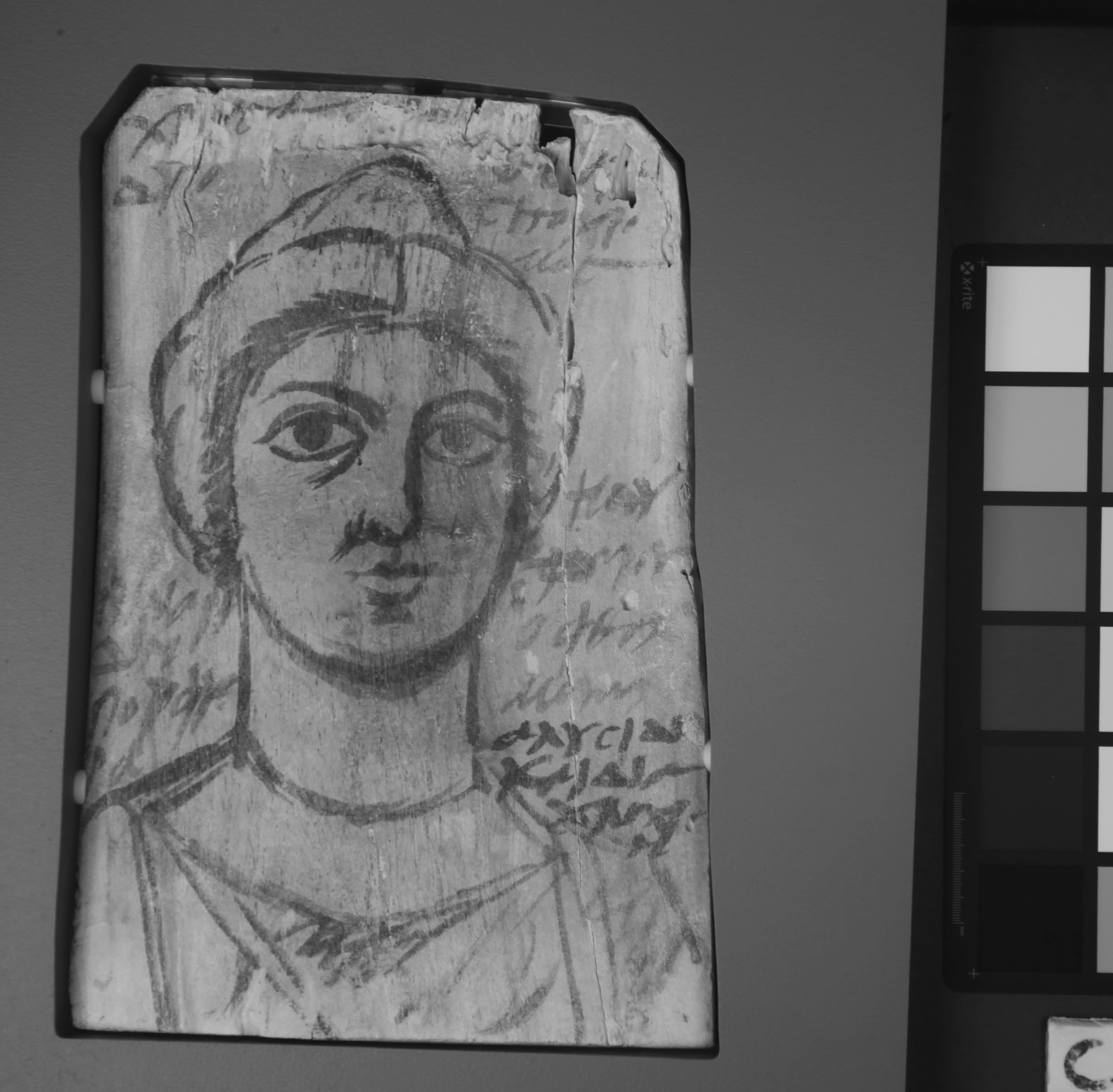 Mummy Portrait with Annotations in Greek